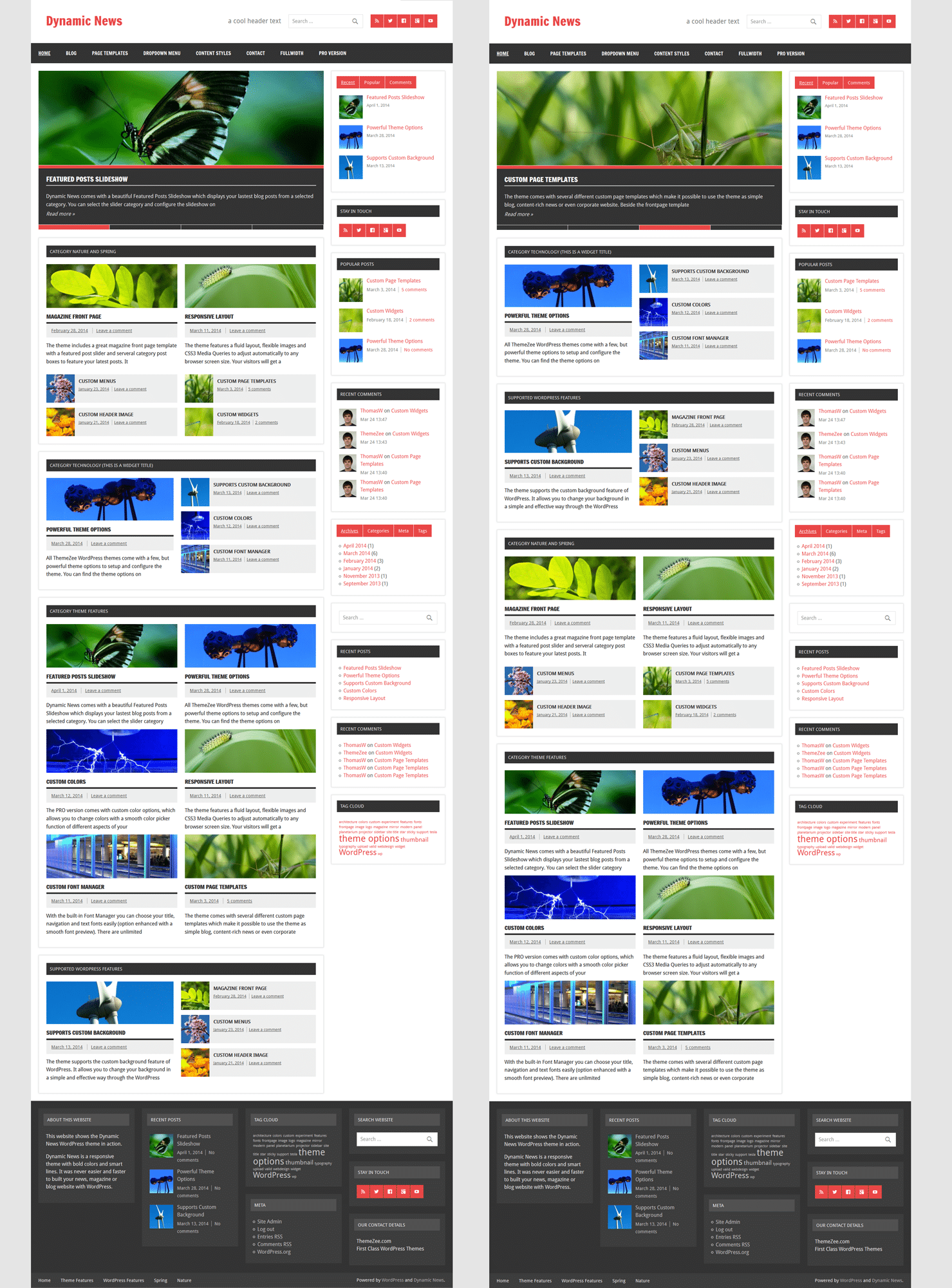 Dynamic news themezee for If page template wordpress