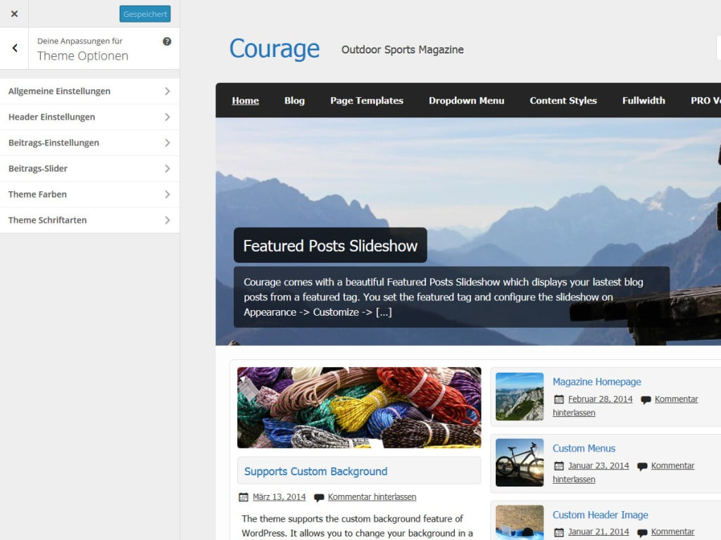 courage-theme-optionen