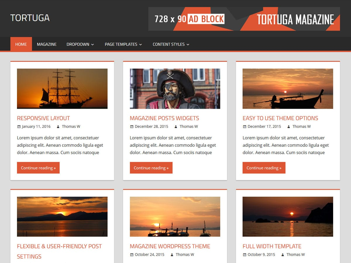 Tortuga themezee for Wordpress theme with multiple page templates