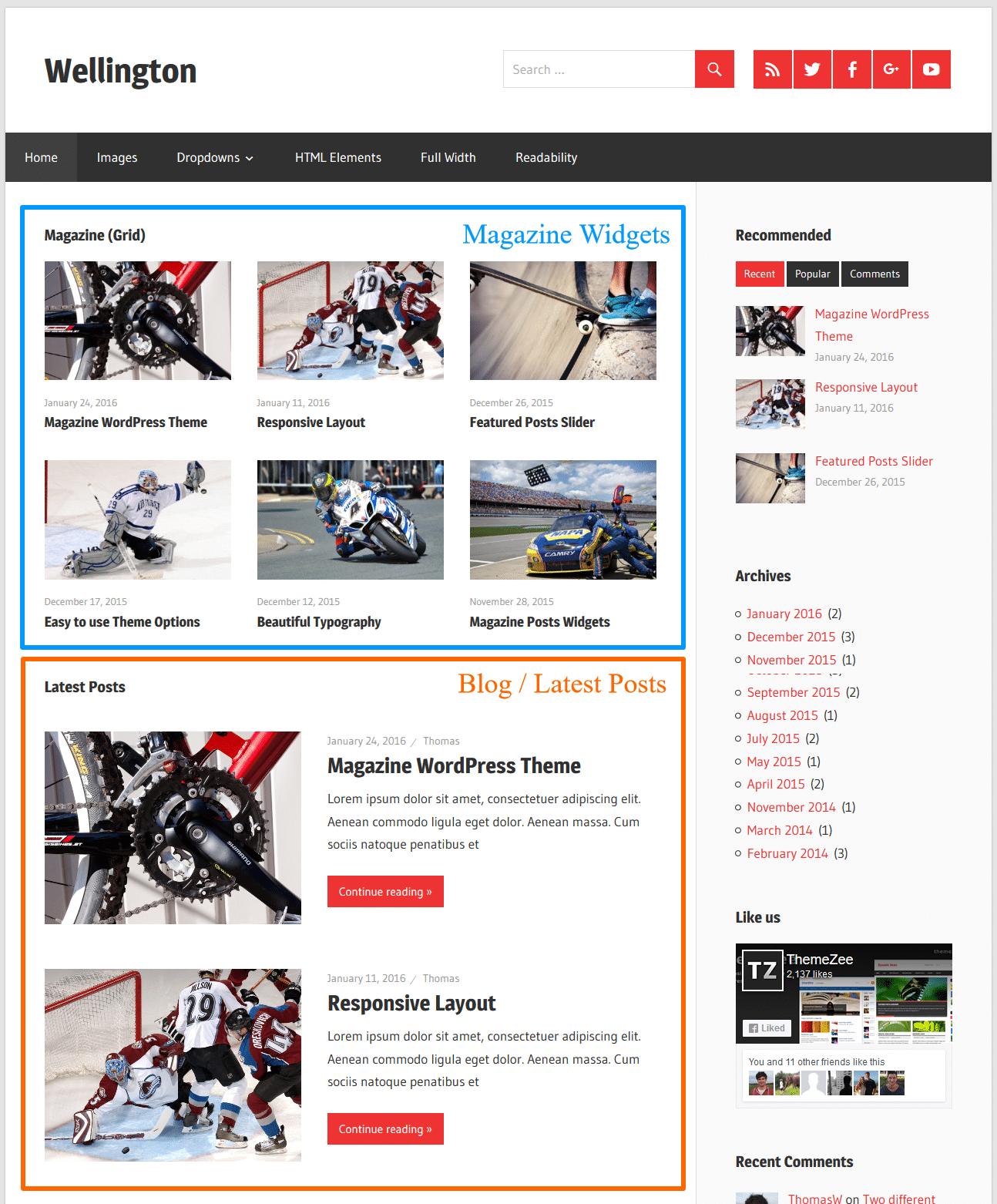 Go To Homepage >> Magazine Widgets On Blog Homepage Themezee