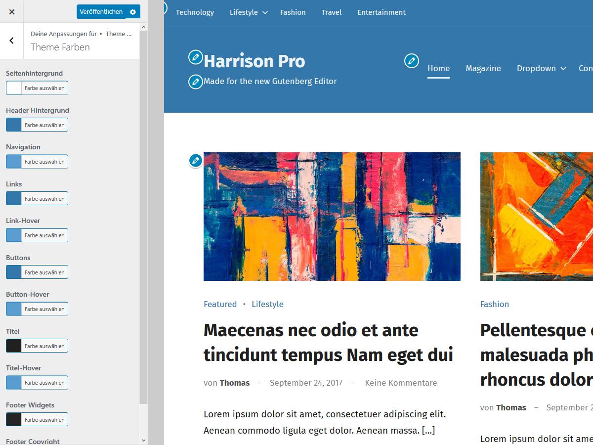 Harrison Theme Farben