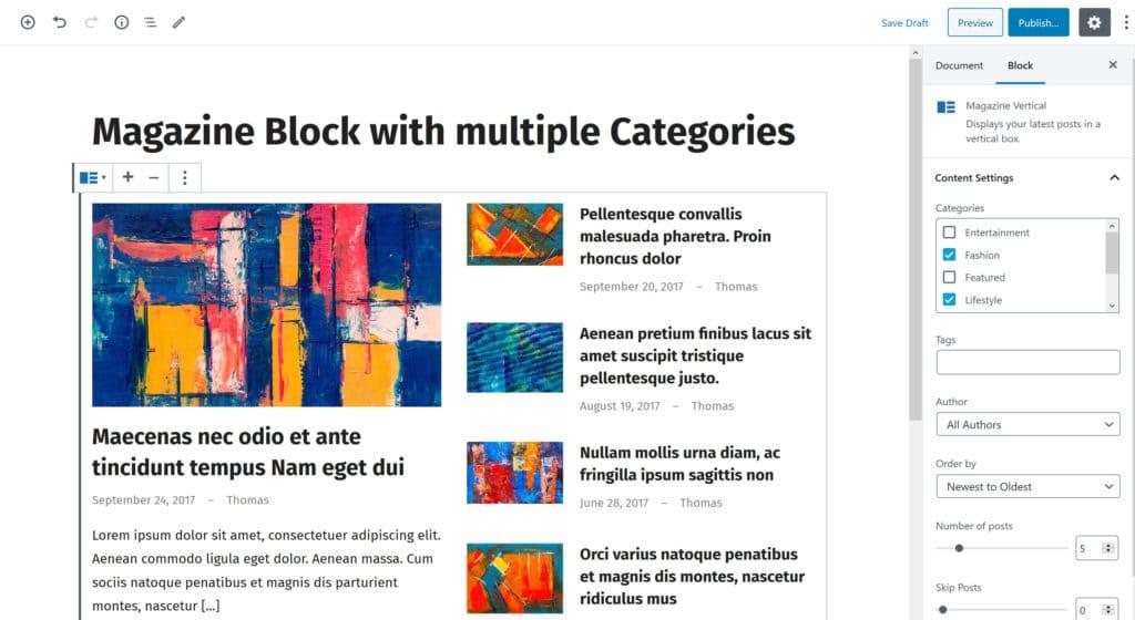 Magazine Blocks Multiple Categories