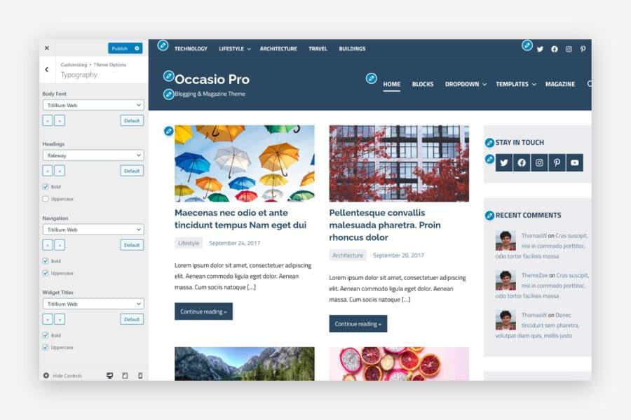 Occasio Pro Customization Options